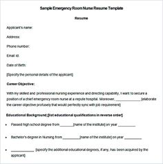 Sample Emergency Room Nurse Resume Template , Nurse Resume Template And  General Resume Writing Tips ,