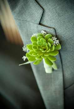 Brides.com: 33 Boutonnieres to Suit You Both A simple succulent boutonniere created by Karen Lenahan Designs.Photo: Cappy Hotchkiss Photography