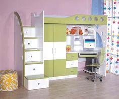 Cama infantil, aprovechando al máximo los espacios. Ideal para recámaras pequeñas. / This kind of furniture helps in small rooms. Perfect bed por kids.