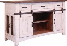 Features:  -Barn doors on side offer convenience and rustic appeal.  -Features three deep drawers, two sliding doors that reveal storage with fixed shelf and two extra storage compartments behind meta