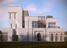 private villa , Kuwait , 500 m , sarah sadeq architects Villa Design, Islamic Architecture, Facade Architecture, House Front Design, Modern House Design, Bungalow Haus Design, Modern Mansion, Mansions Homes, House Elevation