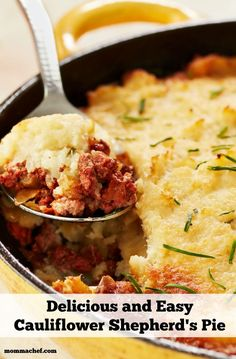 One of my favorite dishes to make and my kids will love it! A delicious and easy skillet Shepherd's Pie with Cauliflower Mash recipe.