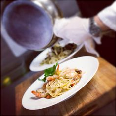 #Pasta makes you #happy!:) Linguine alle Vongole and Linguine con Gamberi freshly made by our Executive Chef, Ivan Beacco.