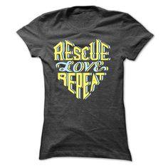 Rescue Love Repeat T-Shirt (Ladies)   PupLife Dog Supplies