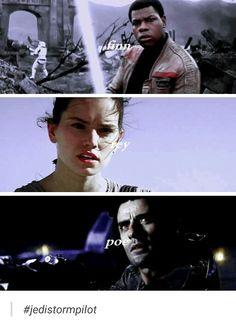 The storm trooper, the Jedi and the best pilot tumblr #starwars #forceawakens #tfa #rey #finn #poedameron #damerey  #jedistormpilot