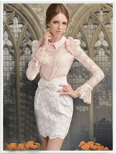 Morpheus Boutique  - Pink High Collar Shoulder Princess Flare Sleeve Lace Ruffle Shirt