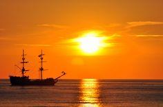 when sun goes down.... Wonderful sunset and Denega ship.