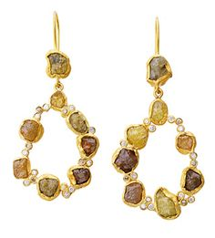 Laurie Kaiser Sprinkles Earrings in natural colored raw diamonds and 18k yellow gold.