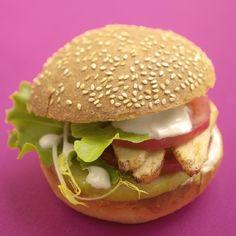 Hamburger au poulet, pommes et chèvre | Recette Soignon