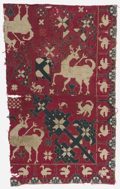 Embroidered fragment of a Spanish textile, 14th-15th century, plain-woven wool