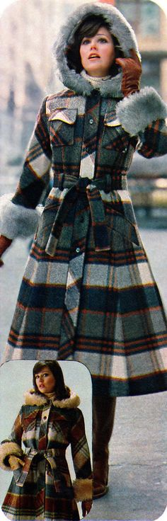 70s Everyday Fashion - The Plaid Hooded Coat with Fur Trim - Sears Winter Catalog - 1978