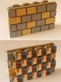 Lego 'brick' pattern made from angled wall pieces.
