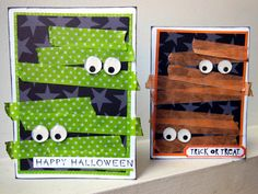 Mummy cards | Diana Poirier - Scrapbook.com - Love these mummy wrap with washi tape cards!