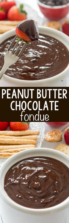 fondue recipes Peanut Butter Chocolate Fondue - this EASY fondue recipe has just 3 ingredients. It's full of peanut butter and chocolate and is a great party dip! Easy Snacks, Easy Desserts, Dessert Recipes, Dessert Simple, Junk Food, Fudge, Chocolate Fondue Fountain, Fondue Recipes, Fondue Ideas
