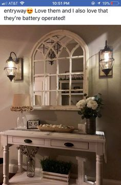 Mirror is from kirklands. Sconces are battery powered from decor steals. Table drom Magnolia Home New Living Room, Home And Living, Living Room Decor, Entryway Decor, Foyer Table Decor, Apartment Entryway, Wall Decor, Home Remodeling, Farmhouse Decor
