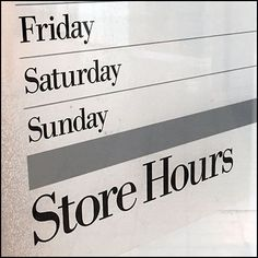 Cable-Hung Frosted Glass Store Hours
