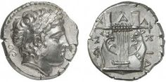 Macedonia - League Chalcidian (420-392) Tetradrachm - Olynthe. Av: Laureate head of Apollo right. Rv. : Cit ...