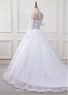 Buy discount Junoesque Tulle & Organza Scoop Neckline See-through Bodice Ball Gown Wedding Dress With Lace Appliques at Magbridal.com