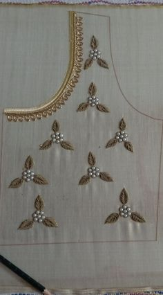 Aari embroidery on a bridal blouse. Filled with Zardosi and semi bead. Necklace design on neck portion Hand Embroidery Dress, Kurti Embroidery Design, Aari Embroidery, Bead Embroidery Patterns, Flower Embroidery Designs, Embroidery Fashion, Embroidery Letters, Embroidery Stitches, Hand Work Blouse Design