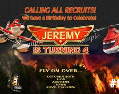 20 Disney Planes Invitations, Fire and Rescue PRINTED - 20 or more  printed invitations (Includes Envelopes) -- Photo Invitation,