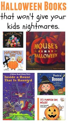 Books That Won't Give Your Kids Nightmares Halloween book list filled with Halloween books that are not scary.Halloween book list filled with Halloween books that are not scary. Halloween Books, Halloween Activities, Holidays Halloween, Halloween Themes, Halloween Crafts, Happy Halloween, Halloween Decorations, Halloween Party, Activities For Kids