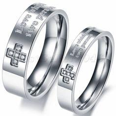 Damen Herren Kreuz Zirkonia Edelstahl Ring Trauringe Eheringe Partnerringe