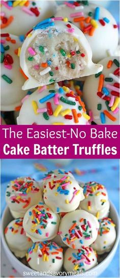 No Bake Cake Batter Truffles are very easy to make using funfetti cake mix. Loaded with lots of sprinkles and dipped in white chocolate, these are fun and delicious. #nobakedessert #truffles #cakebatter #nobake #sprinkles