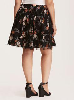 Floral Print Mesh Skater Skirt, SURRY MYSTERY