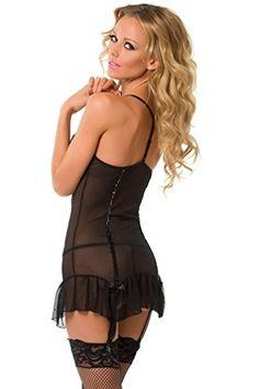18ed9bb9abc02 Velvet Kitten Sequin Trimmed Black Sexy Chemise Lingerie Set 3246  MediumLarge   Click image for more