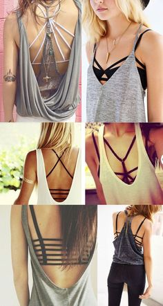 Low cut backs and strappy bra Diy Fashion, Love Fashion, Fashion Looks, Fashion Outfits, Womens Fashion, Fashion Trends, Summer Outfits, Casual Outfits, Cute Outfits