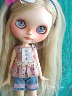 Blythe doll outfit - *Rosy posy* 2 pcs denim shorts play set - grunge vintage embroidered dress by marina, $65.00 USD