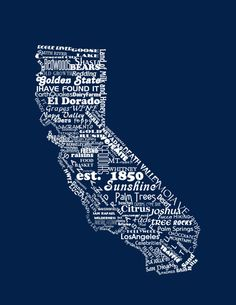 California State Print The GOLDEN STATE by DefineDesign11 on Etsy