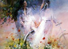 работы Willem Haenraets – 29 Impressionist Paintings, Impressionism, Anime Comics, Canvas Wall Art, Canvas Prints, Art Prints, Bicycle Painting, Fine Art Paper, Watercolor Paintings