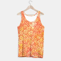 """""""Autumn foliage"""" Unisex Tank Top by Savousepate on Live Heroes #clothing #apparel #orange #yellow #red #foliage #leaves #nature #autumncolors #fallcolors #pattern #drawing #watercolor"""