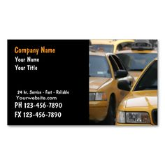 Taxi Cab Business Cards. This great business card design is available for customization. All text style, colors, sizes can be modified to fit your needs. Just click the image to learn more!