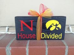 House divided wood block set Nebraska Cornhusker Huskers Iowa Hawkeyes college football basketball baseball fan Go Big Red Go Hawkeyes on Etsy, $9.95