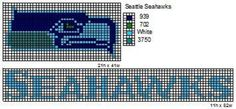 These are the NFL logo and name plate patterns that I use to make scarfs and beenie hats. Here is a pattern for th. Bead Loom Patterns, Beading Patterns, Cross Stitch Patterns, Crochet Patterns, Graph Crochet, Peyote Patterns, Cross Stitching, Cross Stitch Embroidery, Seattle Seahawks Logo