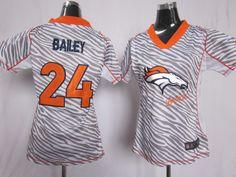 83cdd2fe5 2012 Women s Nike NFL Denver Broncos  24 Champ Bailey Zebra Fashion Elite  Jerseys Nfl Denver