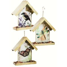 Art Vistas Bird Feeders (Set of 3). Keep up correspondence with your feathered friends with this postage-inspired hanging birdfeeder! Traditionally shaped with rectangular feeding tray, feeder is easily installed on any branch or overhang. #birdfeeders