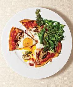 Mushroom and egg pizza (???) Real Simple magazine
