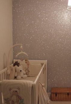Glitter accent wall in nursery