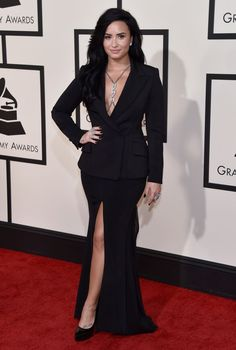 Demi Lovato arrives at the 58th Annual GRAMMY Awards on Feb. 15 in Los Angeles