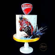 Hand painted cake with isomalt details.I really enjoyed working on this cake which was surprise for a big fan of DUCATI Funny Birthday Cakes, Birthday Cakes For Men, Dad Birthday, Cake Decorating Techniques, Cake Decorating Tips, Bolo Chanel, Cake Design For Men, Motorcycle Cake, Bike Cakes