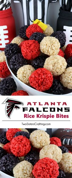 Atlanta Falcons Rice Krispie Bites -  Yummy, bite-sized balls of crunchy, marshmallow-y delight.  This is a Football dessert that is easy to make and even better to eat.  These colorful and festive Atlanta Falcon Treats are great for a game day football party, an NFL playoff party, a Super Bowl party or as a special snack for the Atlanta Falcons fans in your life. Go Falcons!  Follow us for more fun Superbowl Food Ideas.
