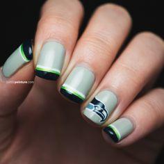 Seahawks!! Superbowl XLIX   Petite Peinture #seahawks #manicure #nailart #naildesign