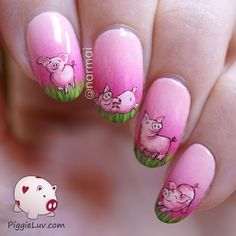 Nailpolis Museum of Nail Art | Freehand piglets by Narmai