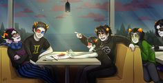 "this is a secret santa gift for thisbroken-capulet, who likes erisol, karezi and equius<>nepeta - so here we have the first four of them on a double date (terezi's idea, not everyone is enthusiastic about it) in a ""pie in the sky"" restaurant (a revolving desert restaurant), where they accidently bump into two friends sitting next to them anyways, i hope you like it (and not disappointed that it's not holiday-related) - happy holidays!"