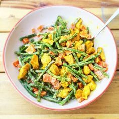 Green beans with sweet potato and chicken fillet - Healthy Diet Recipes, Healthy Cooking, Real Food Recipes, Salad Recipes, Healthy Life, Healthy Diners, Happy Foods, Evening Meals, Curry