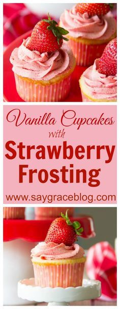 A tender, moist and fluffy yellow vanilla cupcake gets topped with a creamy yet intense buttercream strawberry frosting!!