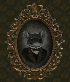 Edgar Smoke by J Larkin Steampunk Haunted Mouse Canvas Art Print